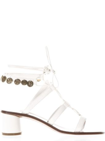 Dior White Sandals In Leather With Logo And Astrological Images