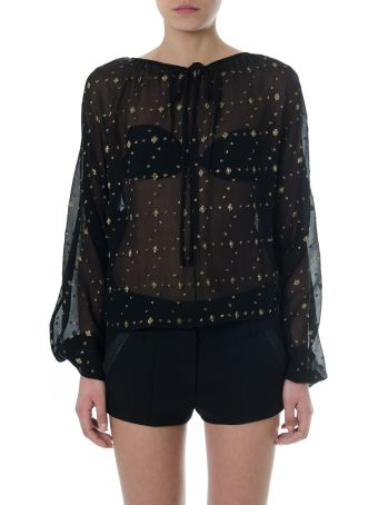 Saint Laurent Embroidered Black Silk Blouse