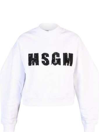MSGM White Sequinned Sweatshirt