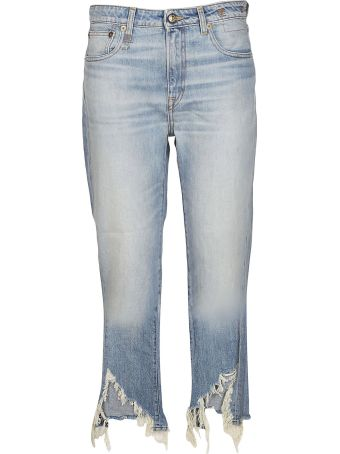 R13 Torn Kick Fit Jeans