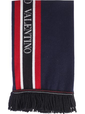 Valentino Garavani Blue Branded Scarf