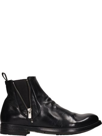 Officine Creative Black Shiny Leather Ankle Boots