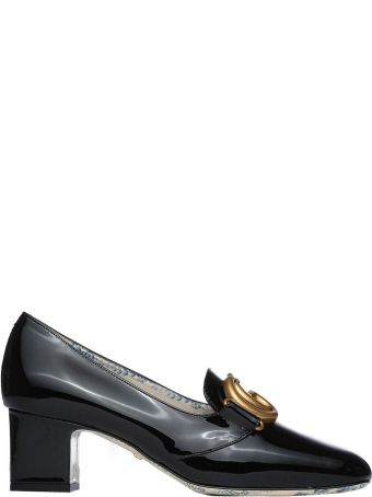Gucci Black Patent Leather Mid-heel Pumps With Double G
