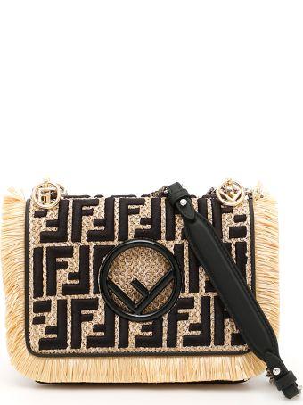 Rafia And Leather Small Kan I Bag