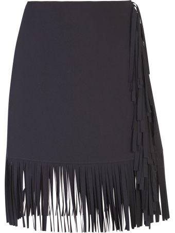 MSGM Black Fringed Skirt
