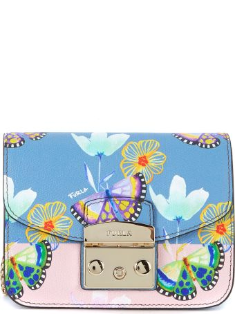 Furla Metropolis Mini Shoulder Bag In Light Blue Leather With Butterflies And Flowers.
