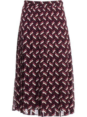 MICHAEL Michael Kors Skirt Midi Chevron W/folds