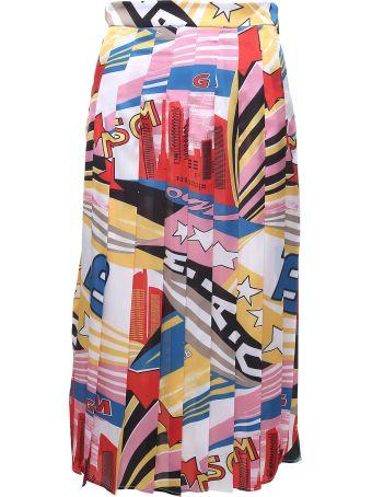 MSGM 'tribute'-print Satin Pleated Midi Skirt