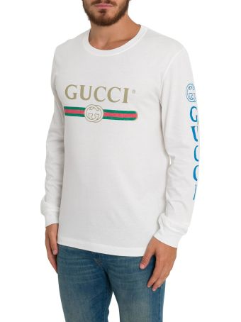 Gucci Dragon-embroidered Cotton Long-sleeve Tee
