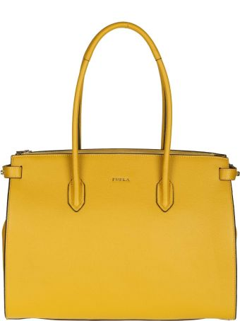 """Furla Shopping """"pin M"""" In Leather Color Yellow Ocra"""