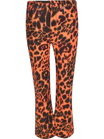 R13 Flared Leopard Jeans
