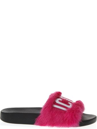 Dsquared2 Fuxia Leather Slippers
