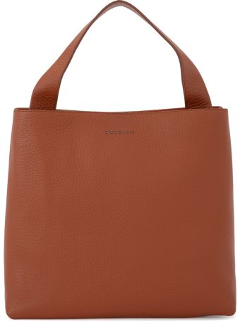 Orciani Jackie Tobacco Tumbled Leather Shoulder Bag