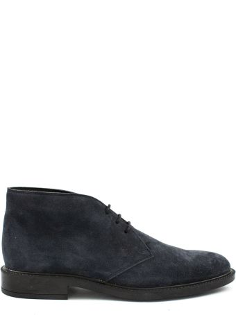 Tod's Short Ankle Boots In Blue Suede.