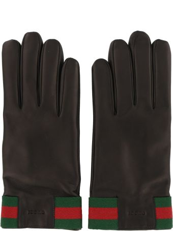 Gucci Web Detail Leather Gloves