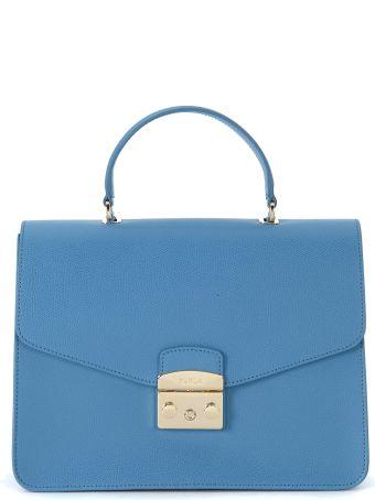 Furla Metropolis M Light-blue Leather Handbag