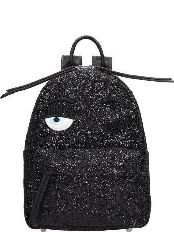 Chiara Ferragni Black Glitter Small Flirting Backpack