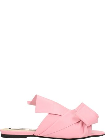 N.21 Bow Pink Leather Flat Sandals
