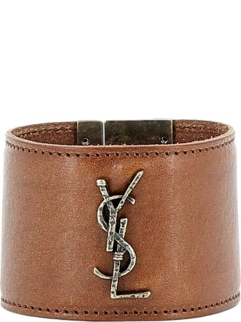 Saint Laurent Brown Leather Bracelets