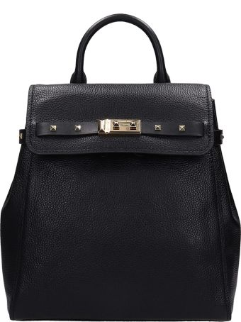Michael Kors Backpack In Black Grained Leather