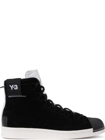 Y-3 Super High Black Suede And White Leather High Top Sneaker