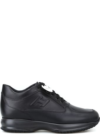 Hogan Interactive Black Leather Mid-top Sneakers