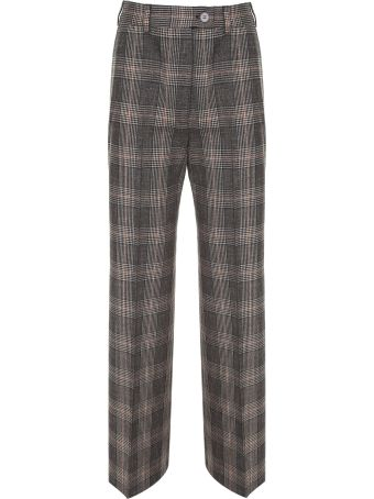 Acne Studios Prince Of Wales-check Wool-blend Wide-leg Trousers