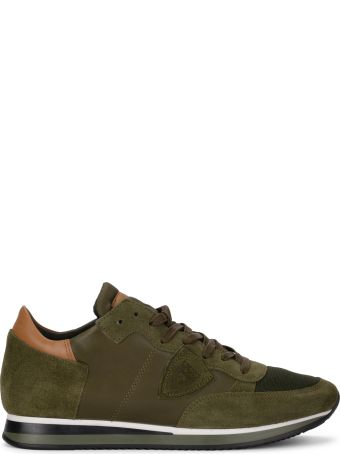 Philippe Model Tropez Green Leather And Suede Sneaker