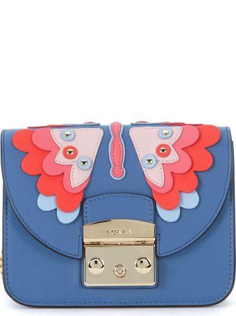 Furla Metropolis Mini Bluette Leather Shoulder Bag With Butterfly.