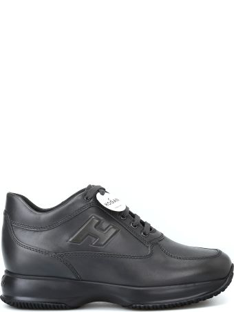 Hogan Interactive Charcoal Leather Mid-top Sneakers