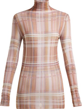 Acne Studios Check-print Jersey Roll-neck Top