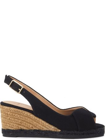 Castañer Brianda Wedge Sandal In Black Canvas And Jute