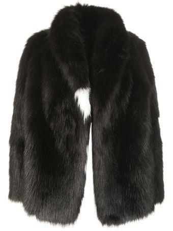 Off-White Striped Collar Fur Jacket