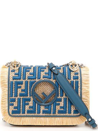 Fendi Rafia And Leather Small Kan I Bag