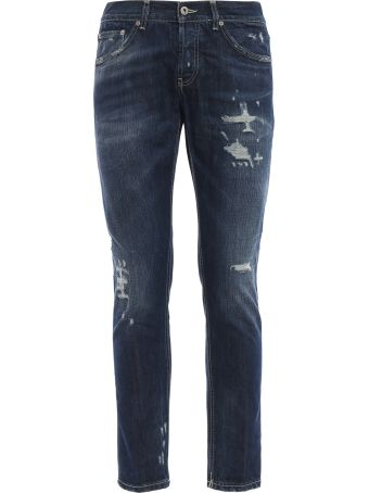 Dondup Mius Fake Scraping Rigid Denim Slim Jeans