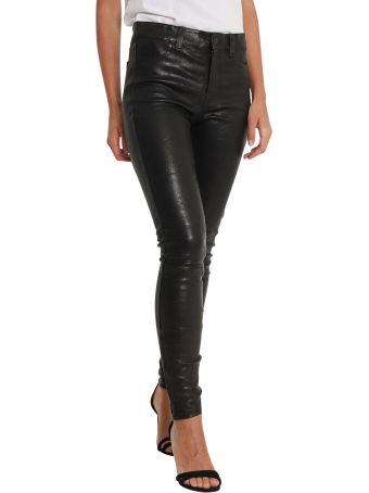 J Brand Leather Skinny Pants With Zipper At Hem