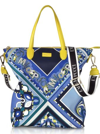 Emilio Pucci Cobalt And Petrol Blue Printed Canvas N/s Tote Bag
