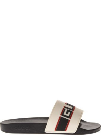 Gucci Beige Rubber Slide Sandals With Embossed Gucci Logo