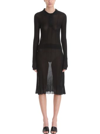 Maison Margiela Black Ribbed Knit Dress
