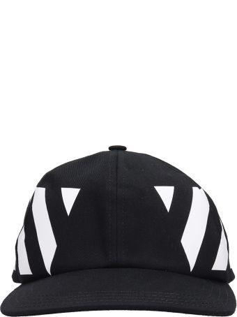 Off-White Black Cotton Diag Hat In Black Cotton