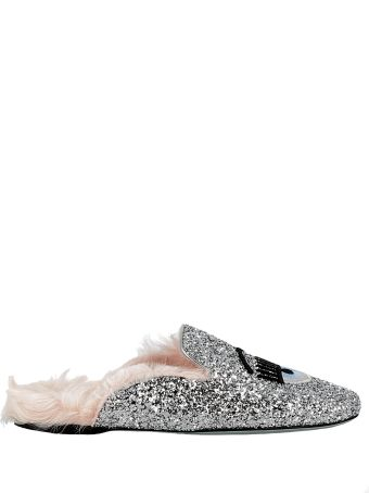 Chiara Ferragni Silver Glitter Slippers