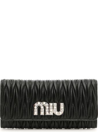 Miu Miu Miu Logo Matelassé Wallet