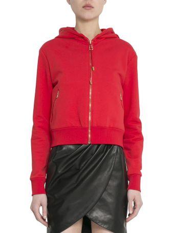 Versace Red Cotton Logo Hoodie