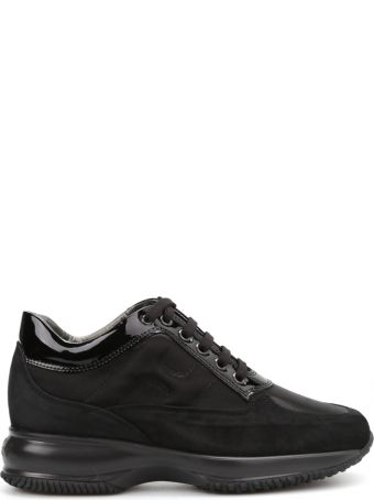 Hogan Interactive Black Suede And Patent Sneakers