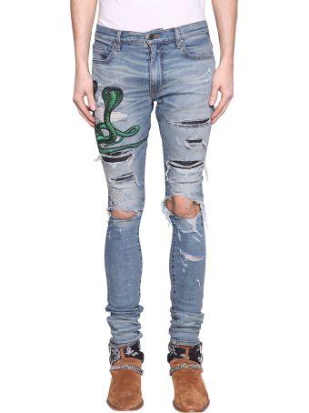 AMIRI Art Patch Snake Cotton Denim Jeans