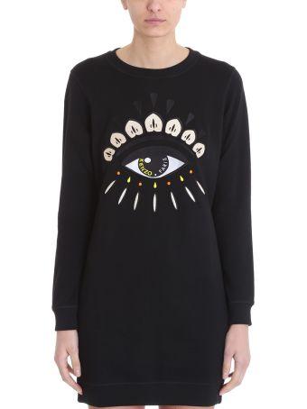 Kenzo Eye Black Cotton Sweatshirt Dress