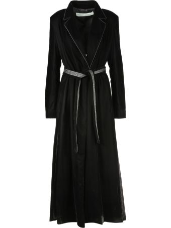 Off-White Belted Flared Coat
