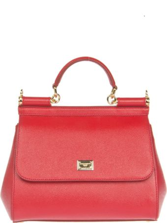 Dolce & Gabbana Red Leather Medium Sicily Bag