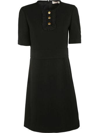 Tory Burch Crepe Ruffle Placket Dress