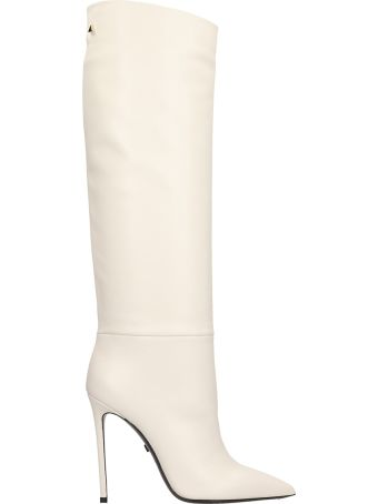 Grey Mer Talc Calf Leather Boots